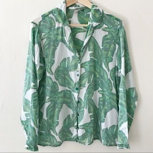 ASOS Banana Leaf Button Down Top Blouse Small